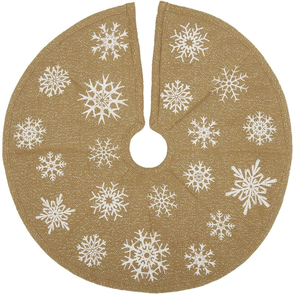 Snowflake Burlap Natural Mini Christmas Tree Skirt 21 VHC Brands