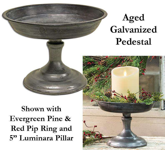 Aged Galvanized Pedestal Containers CWI+