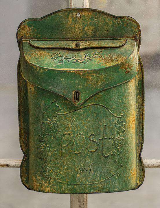 Aged Green Post Box Mail and Post Boxes CWI+