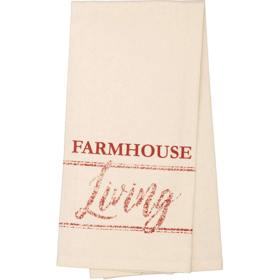 Sawyer Mill Red Farmhouse Living Muslin Unbleached Natural Tea Towel 19x28 VHC Brands