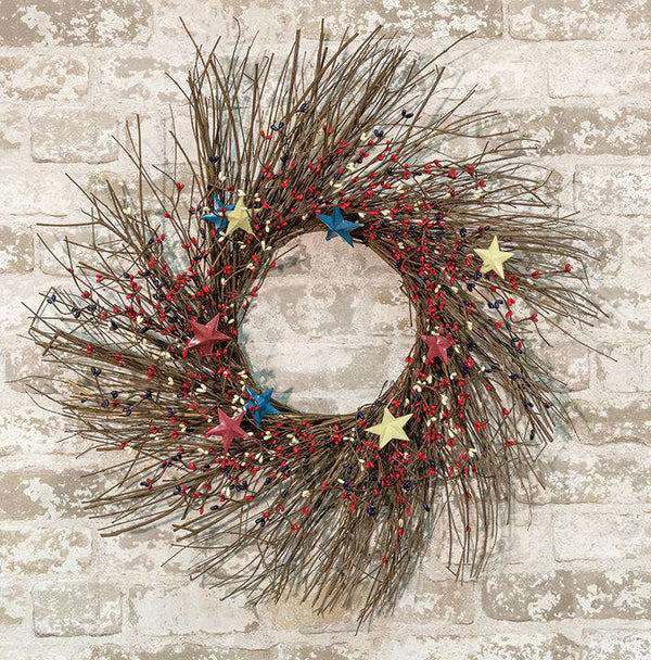 "Americana Pip Berry Sunburst Wreath, 24"" Wreaths CWI+"