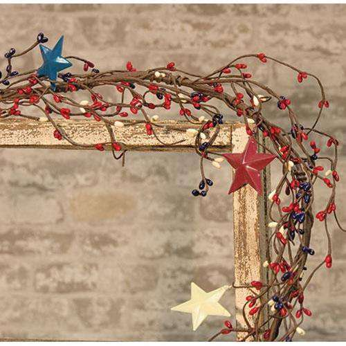 Americana Pip Garland w/ Stars, 5ft Tabletop & Decor CWI+
