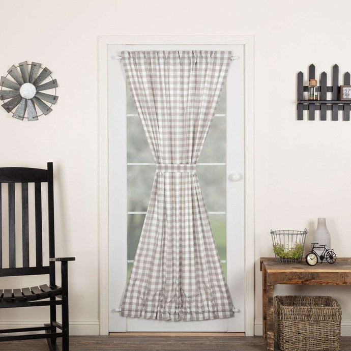 Annie Buffalo Black/Grey/Red/Tan Check Door Panel 72x40 curtain VHC Brands