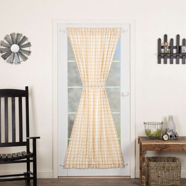 Annie Buffalo Black/Grey/Red/Tan Check Door Panel 72x40 curtain VHC Brands Grey