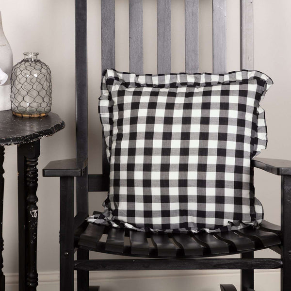 Annie Buffalo Check Ruffled Fabric Pillow Black, Grey, Red Pillows VHC Brands