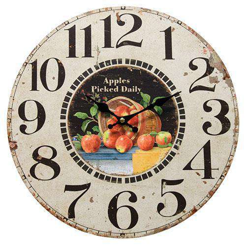 Apples Picked Daily Clock Tick Tock Clock Sale CWI+