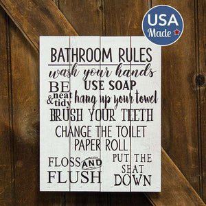 Bathroom Rules Pallet Art Bath & Laundry Signs CWI+