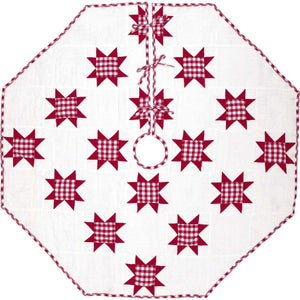 Emmie Red Patchwork Christmas Tree Skirt 55 VHC Brands