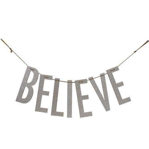 """Believe"" Silver Wood Garland New Christmas CWI+"