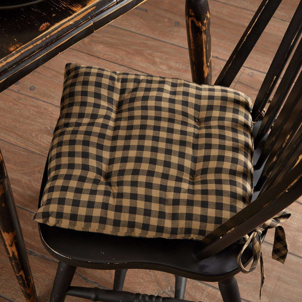 Black Check Country Chair Pad Chair Pad VHC Brands