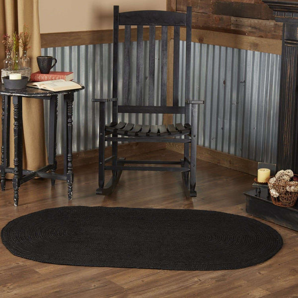 Black Jute Braided Rug Oval VHC Brands Rugs VHC Brands