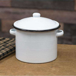Black Rim Enamel Stock Pot Farm Fresh Kitchen CWI+