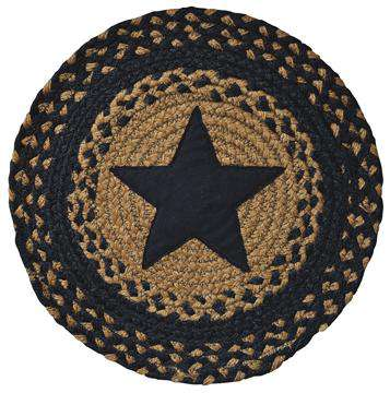 "Black Star 15"" Diameter Braided Accent Mat table mat CWI Gifts"