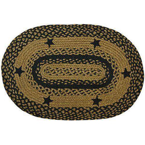 Black Star Oval Braided Rug rugs CWI Gifts 27x48 oval