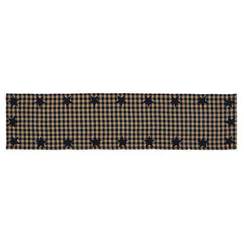 "Black Star Woven Runner, 72"" Tabletop CWI+"