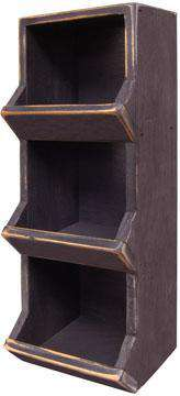 Black Vertical Wood Bin, 18