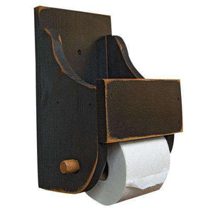 Black Wood Toilet Paper Holder Aged Wood Collection CWI+