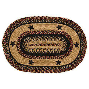 Blackberry Star Braided Rug - Oval, Bone, Heart Shape rugs CWI Gifts 20x30 inch