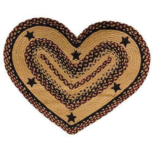 Blackberry Star Braided Rug - Oval, Bone, Heart Shape rugs CWI Gifts 20x30 inch heart