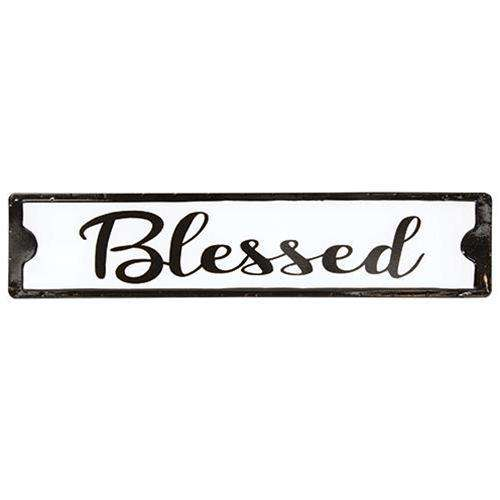 Blessed Black and White Street Sign Metal Signs CWI+