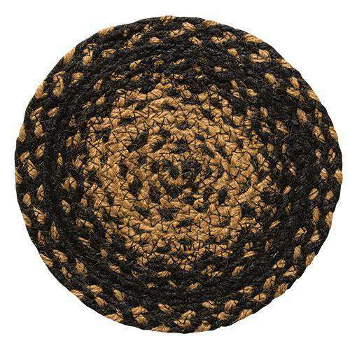 Braided Ebony Chair Pad, Coaster, Trivet & Placemat table mats CWI Gifts Trivet 8""