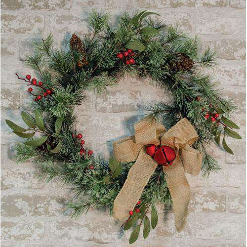 Brush Pine w/Red Bells Wreath Florals CWI+