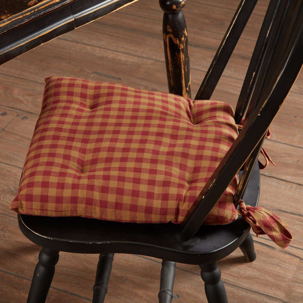 Burgundy Check Country Chair Pad Chair Pad VHC Brands