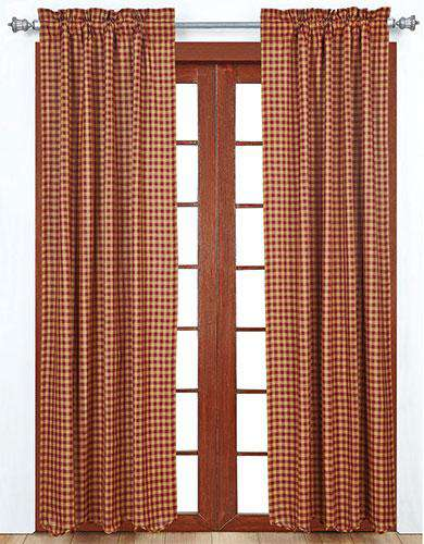 Burgundy Check Panels Farmhouse Curtains 2/Set curtains CWI Gifts