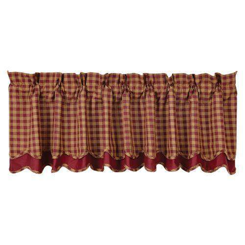 Burgundy Check Scalloped Layered Lined Valance Curtain curtains CWI Gifts