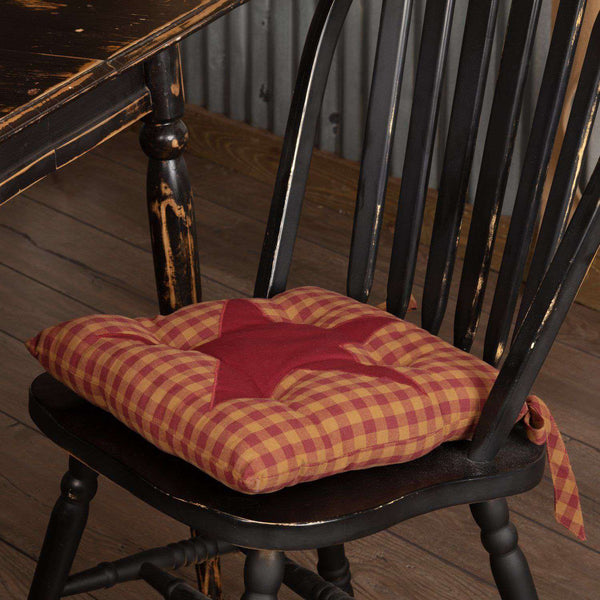 Burgundy Star Country Chair Pad Chair Pad VHC Brands