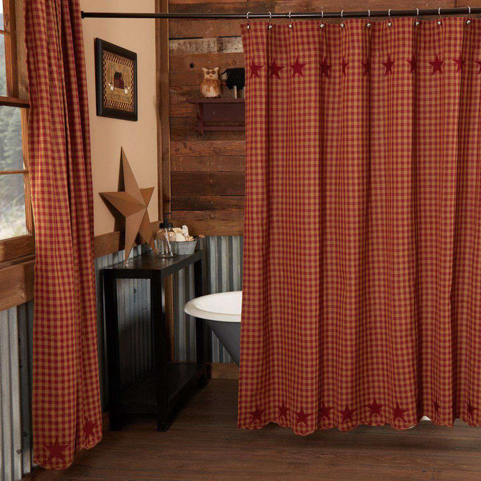Burgundy Star Scalloped Shower Curtain 72