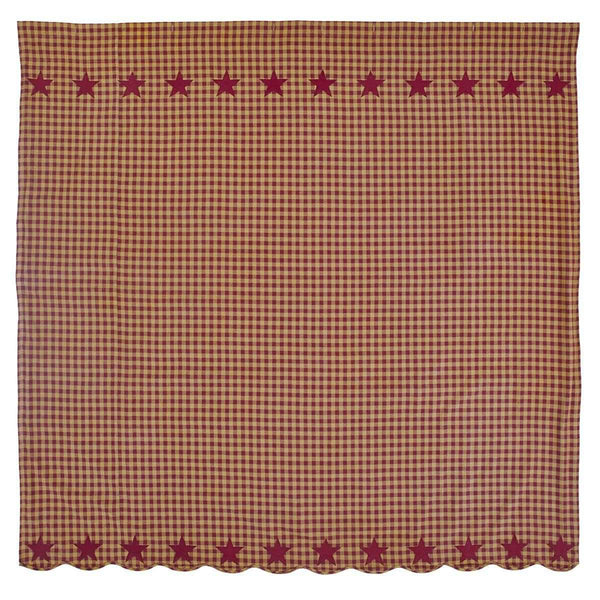 "Burgundy Star Scalloped Shower Curtain 72""x72"" curtain VHC Brands"