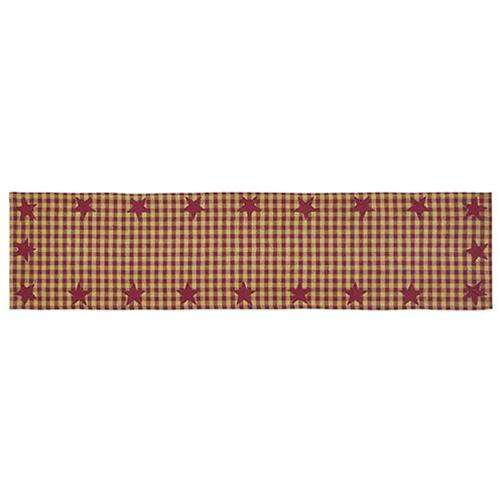 "Burgundy Star Woven Runner, 54"" Tabletop CWI+"