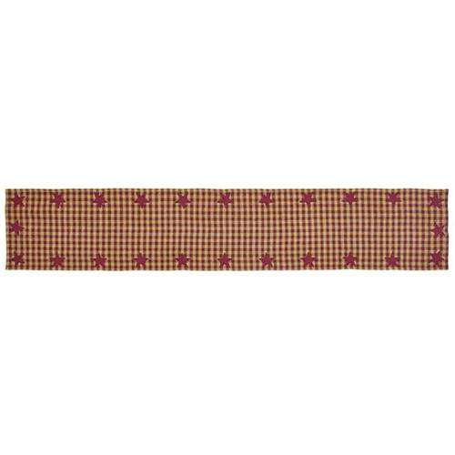 "Burgundy Star Woven Runner, 72"" Tabletop CWI+"