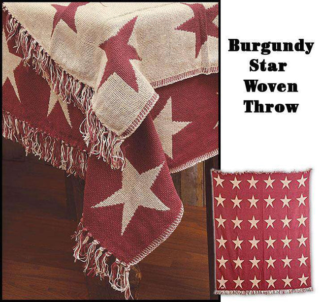 Burgundy Star Woven Throw woven throws CWI+