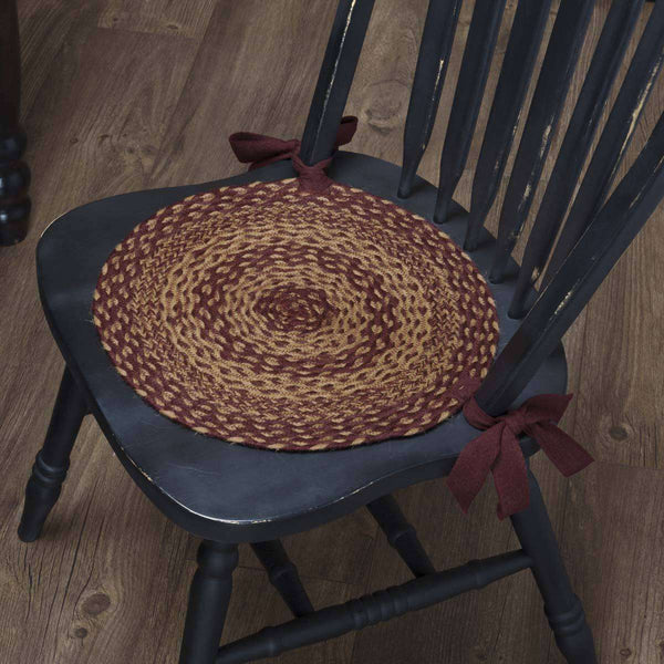 Burgundy Tan Braided Jute Chair Pad Set of 6 Chair Pad VHC Brands