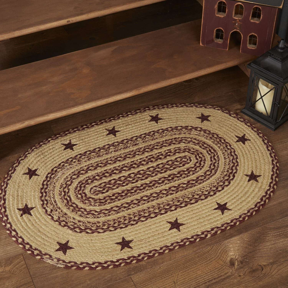 Burgundy Tan Jute Braided Rug Oval Stencil Stars VHC Brands Rugs VHC Brands