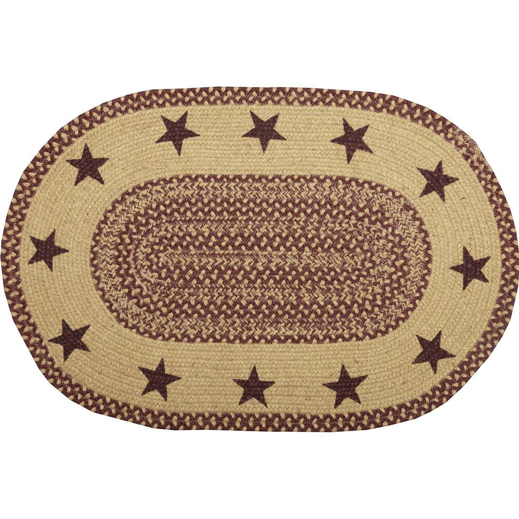 Burgundy Tan Jute Braided Rug Oval Stencil Stars VHC Brands Rugs VHC Brands 20