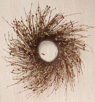 Burgundy/Gold Pip Twig Wreath, 16