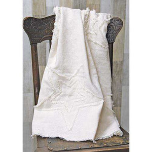 Burlap Antique White Star Woven Throw General CWI+