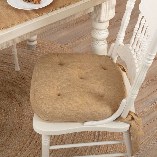 Burlap Natural Country Chair Pad Chair Pad VHC Brands