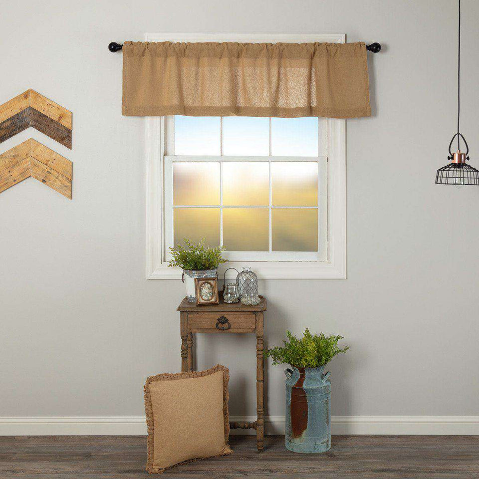 Burlap Natural Valance Curtain 16x72 curtains CWI Gifts