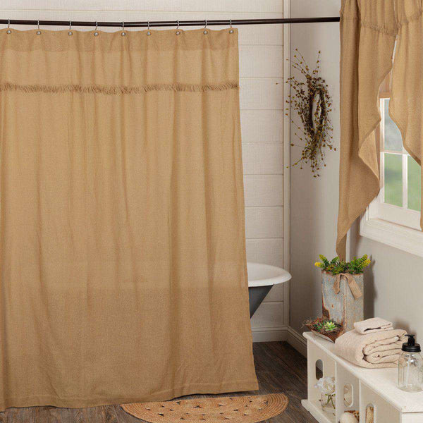 "Burlap Vintage/Antique/Natural Shower Curtain 72""x72"" curtain VHC Brands"
