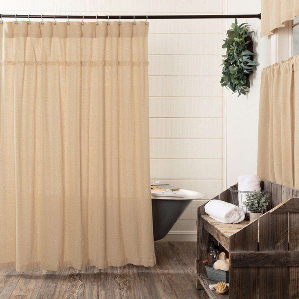 "Burlap Vintage/Antique/Natural Shower Curtain 72""x72"" curtain VHC Brands Vintage"