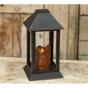 Burnt Mustard Dripped Pillar Lantern, 12 inch Lanterns/Lids CWI+