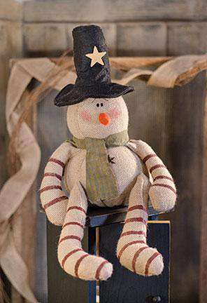 Candy Cane Burlap Snowman Tabletop & Decor CWI+