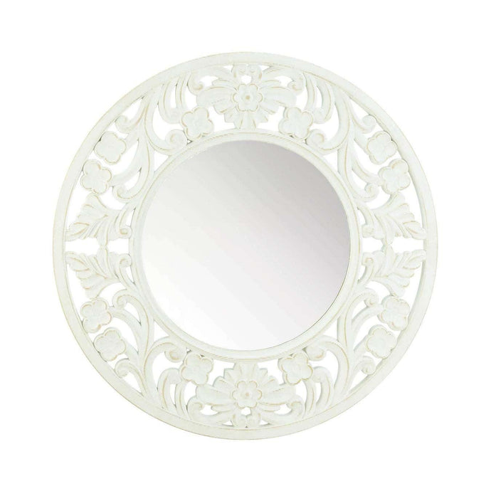 Carved Round White Wall Mirror