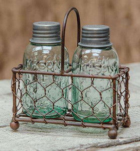 Chicken Wire Caddy W/Shakers Baskets CWI+