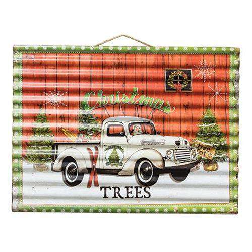 Christmas Tree Farm Corrugated Sign Vintage Christmas Decor CWI+