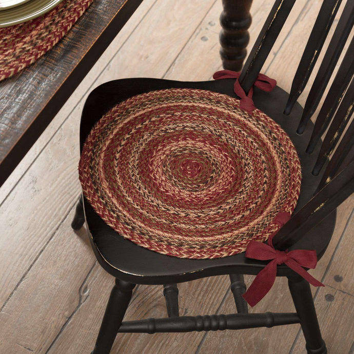 Cider Mill Jute Braided Chair Pad Set of 6 Burgundy, Natural, Green Chair Pad VHC Brands
